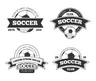 Sistema del vector de las etiquetas del fútbol stock de ilustración