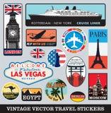 Sistema del vector de las etiquetas engomadas de la maleta stock de ilustración