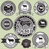 Sistema del vector de las etiquetas ovejas y cordero Foto de archivo