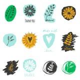 Sistema del vector de las etiquetas para la comida vegetariana y cruda con de las plantas, y muestra con la flor, el corazón y la Foto de archivo libre de regalías