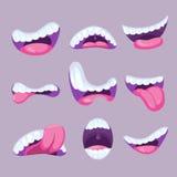 Sistema del vector de las expresiones de las bocas de la historieta Fotos de archivo libres de regalías