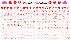 Sistema del vector de las formas del corazón Foto de archivo libre de regalías