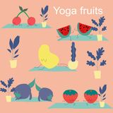 Sistema del vector de las frutas de la yoga, ejemplo del icono libre illustration