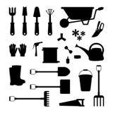 Sistema del vector de las herramientas para cultivar un huerto Silueta del icono stock de ilustración