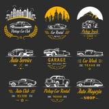 Sistema del vector de las insignias y de la muestra del coche del vintage Imagen de archivo libre de regalías