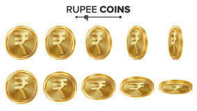 Sistema del vector de las monedas de oro de la rupia 3D Ilustración realista Flip Different Angles Dinero Front Side Concepto de  Fotografía de archivo