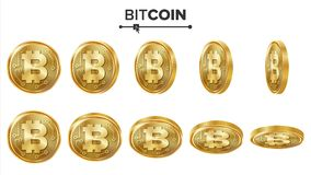 Sistema del vector de las monedas de oro de Bitcoin 3D realista Flip Different Angles Dinero de la moneda de Digitaces Moneda de  Foto de archivo libre de regalías