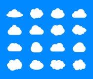 Sistema del vector de las nubes, iconos blancos en fondo del cielo azul, ejemplos planos del tiempo del diseño ilustración del vector