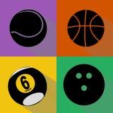 Sistema del vector de las siluetas de las bolas del deporte Fotos de archivo