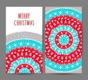 Sistema del vector de las tarjetas de felicitación de la Navidad y del Año Nuevo Imagenes de archivo