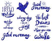 Sistema del VECTOR de letras: ` de la buena mañana del ` en blanco Foto de archivo libre de regalías