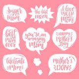 Sistema del vector de letras de la mano del día de madres en burbujas del discurso Colección de la caligrafía te amo, la mejor ma libre illustration