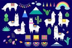 Sistema del vector de llamas, de alpacas y de elementos lindos de la colección del cactus stock de ilustración