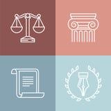 Sistema del vector de logotipos jurídicos y legales Imagen de archivo libre de regalías