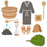 Sistema del vector de los accesorios del baño, accesorios de la sauna Ilustración del Vector