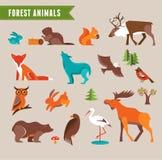 Sistema del vector de los animales del bosque Foto de archivo libre de regalías
