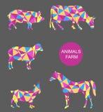 Sistema del vector de los animales del campo vaca, oveja, cabra, cerdo, caballo Imagen de archivo