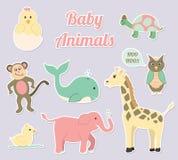 Sistema del vector de los animales del cuarto de niños del bebé Foto de archivo libre de regalías