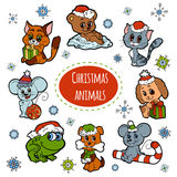 Sistema del vector de los animales lindos de la Navidad, etiquetas engomadas del color Fotos de archivo libres de regalías