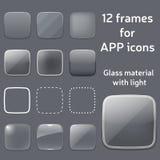 Sistema del vector de los bastidores de cristal vacíos para los iconos del app Imagenes de archivo