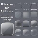 Sistema del vector de los bastidores de cristal vacíos para los iconos del app Fotos de archivo