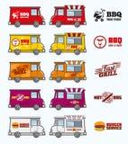 Sistema del vector de los camiones de la comida Foto de archivo