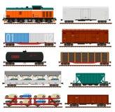 Sistema del vector de los carros del cargo del tren, los tanques, coches Imágenes de archivo libres de regalías