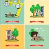 Sistema del vector de los carteles del concepto del parque de atracciones, banderas, estilo plano Fotografía de archivo libre de regalías