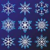 Sistema del vector de los copos de nieve Imagen de archivo libre de regalías