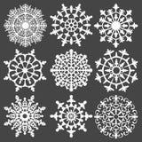 Sistema del vector de los copos de nieve de la silueta para su libre illustration