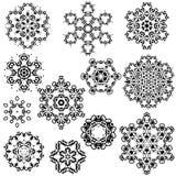 Sistema del vector de los copos de nieve del vintage para su invierno Foto de archivo
