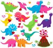 Sistema del vector de los dinosaurios temáticos del día o del amor de la tarjeta del día de San Valentín Imagen de archivo