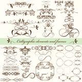 Sistema del vector de los elementos caligráficos para el diseño Vec caligráfico Fotos de archivo