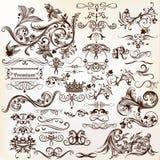 Sistema del vector de los elementos caligráficos para el diseño Vec caligráfico Fotografía de archivo