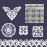 Sistema del vector de los elementos decorativos del cordón para el diseño y la moda en estilo indio étnico Escote, inconsútil, fr stock de ilustración