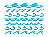 Sistema del vector de los elementos del diseño de las ondas de agua Imagen de archivo
