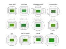 Sistema del vector de los estadios del campeonato del mundo ilustración del vector