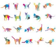 Sistema del vector de los gatos coloridos silhouettes-2 del mosaico libre illustration
