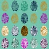 Sistema del vector de los huevos de Pascua coloridos EPS 8 stock de ilustración