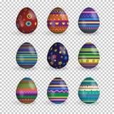 Sistema del vector de los huevos de Pascua realistas aislados en fondo transparente libre illustration
