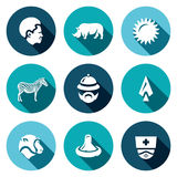 Sistema del vector de los iconos de África Africano, animal, calor, safari, viaje, caza, virus, medicina Fotos de archivo libres de regalías