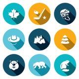 Sistema del vector de los iconos de Canadá Foto de archivo libre de regalías