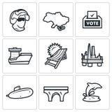 Sistema del vector de los iconos de Crimea ilustración del vector