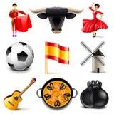 Sistema del vector de los iconos de España stock de ilustración