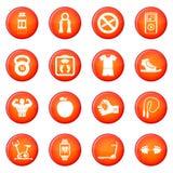 Sistema del vector de los iconos de la aptitud Imagenes de archivo