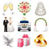 Sistema del vector de los iconos de la boda stock de ilustración