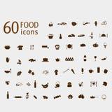 Sistema del vector de los iconos de la comida y de la bebida Fotografía de archivo libre de regalías