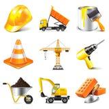 Sistema del vector de los iconos de la construcción stock de ilustración