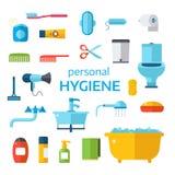 Sistema del vector de los iconos de la higiene aislado en el fondo blanco Foto de archivo libre de regalías