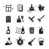 Sistema del vector de los iconos de la limpieza libre illustration